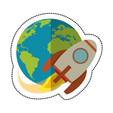 earth world with rocket flying shadow vector illustration eps 10 Illustration