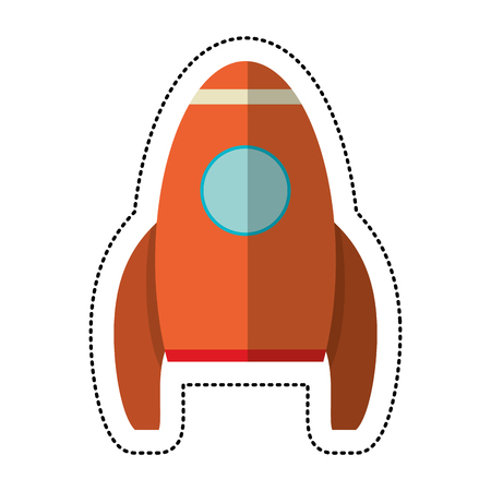 orange rocket transport exploration shadow vector illustration eps 10 Illustration