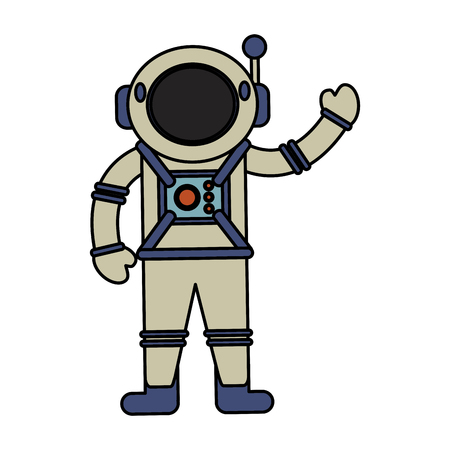 moon rover: astronaut spacesuit helmet antenna vector illustration eps 10