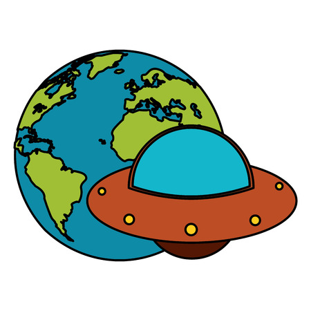 earth world UFO image vector illustration eps 10