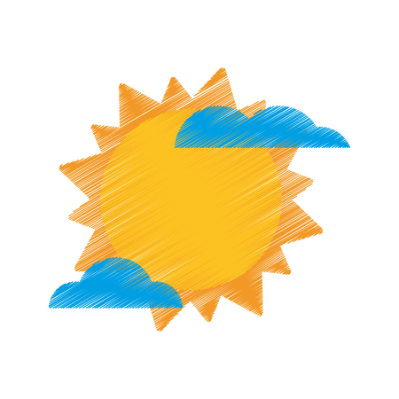 drawing sun cloud weather image vector illustration eps 10