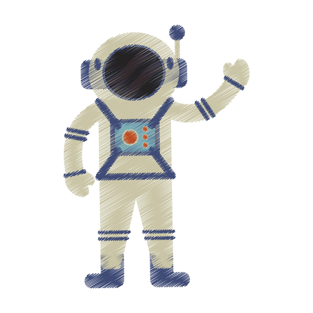 Drawing of astronaut spacesuit helmet antenna vector illustration Illustration