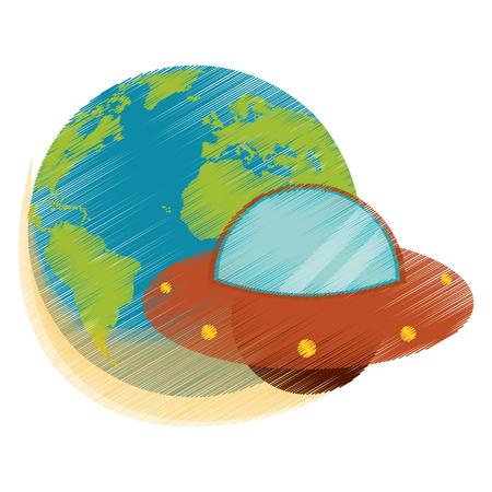 ozone layer: Drawing earth world UFO image vector illustration eps 10