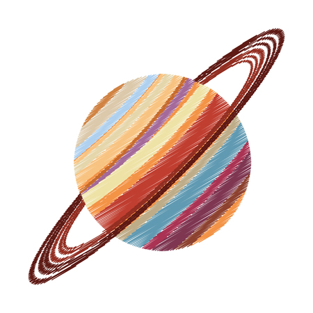 Drawing saturn planet astronomy image vector illustration eps 10