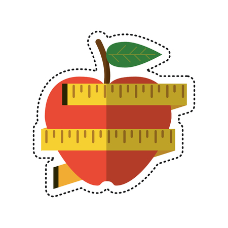 Cartoon apple measuring tape lose weight vector illustration eps 10