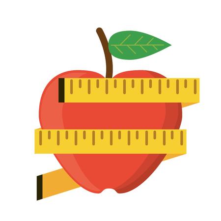 Apple measuring tape lose weight vector illustration eps 10 Illustration