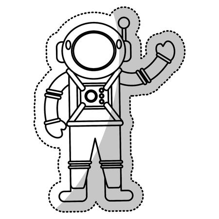 Astronaut space suit helmet outline vector illustration eps 10