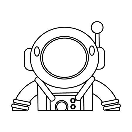 Astronaut Suit Helmet Space Outline Vector Illustration Eps 10