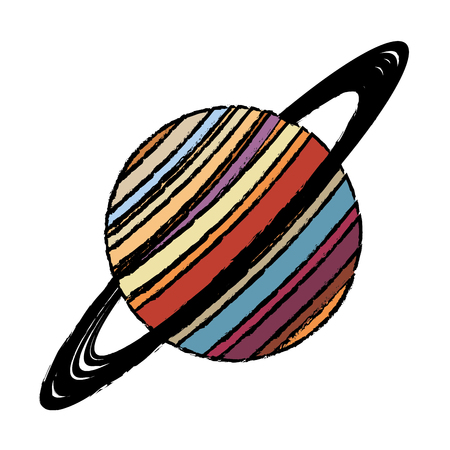 flat earth: Planet saturn astronomy universe icon vector illustration eps 10