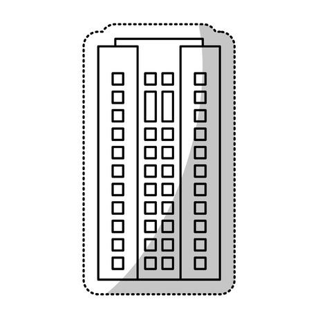 darkwood: Building residential facade cut line vector illustration eps 10