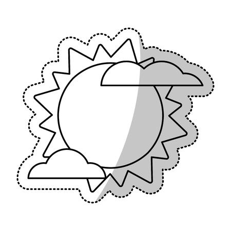 Sun cloud weater symbol cut line vector illustration eps 10