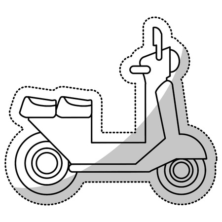 a white police motorcycle: Vespa scooter transport delivery cut line vector illustration eps 10