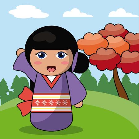 Kokeshi doll japanese landscape image vector illustration