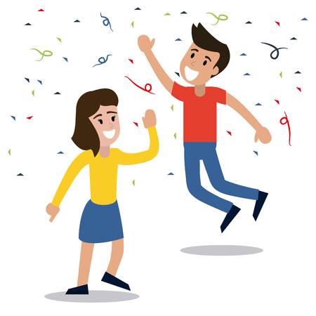couple dancing party confetti celebration vector illustration eps 10 Illustration