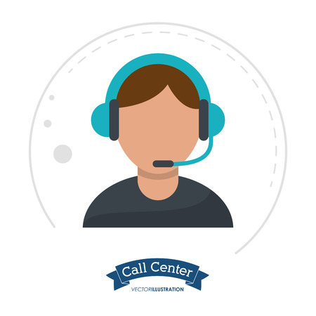 call center man receptionist help vector illustration eps 10