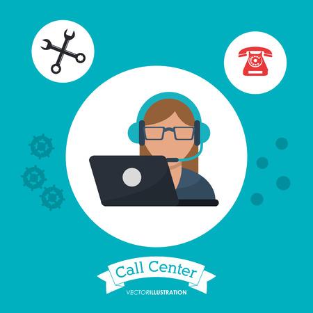 Call-Center-Frau Empfangsdame Unterstützung Laptop-Vektor-Illustration-eps 10