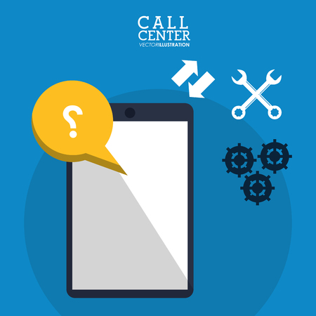 call center smartphone collaboration help vector illustration eps 10 Illustration
