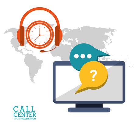 call center computer clock headset vector illustration eps 10