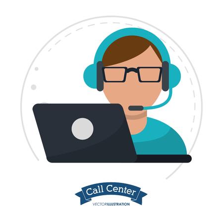 skype: call center man laptop headset vector illustration eps 10
