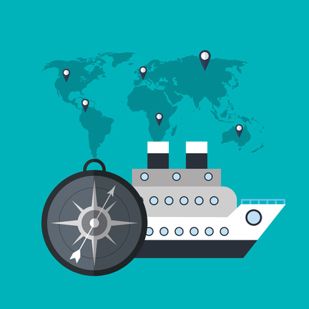cruise ship compass world travel vector illustration eps 10