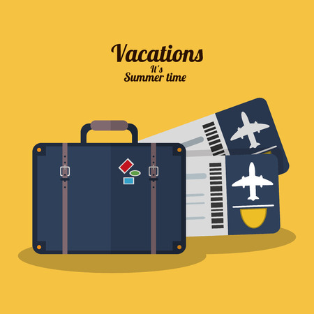 shoppingbag: vacations summer time - suitcase tickets airline vector illustration eps 10