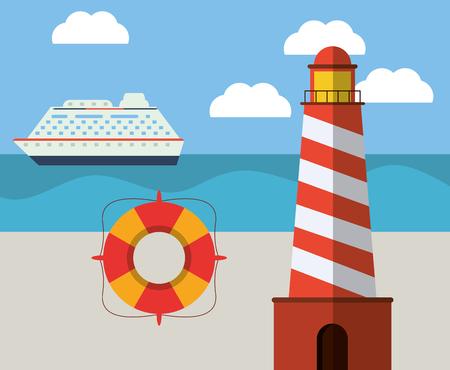 Ligthouse playa lifebuoy nave océano vector ilustración eps 10 Foto de archivo - 75315596