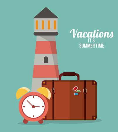 big timer: vacations summer time - lighthouse suitcase clock vector illustration eps 10 Illustration