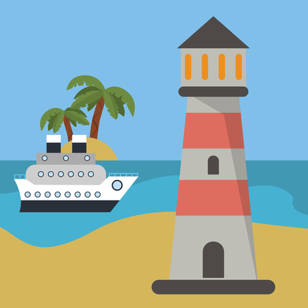 navigational light: lighthouse ship beach vacation vector illustration