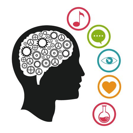 nerve message: head brain knowlegdge social media vector illustration eps 10