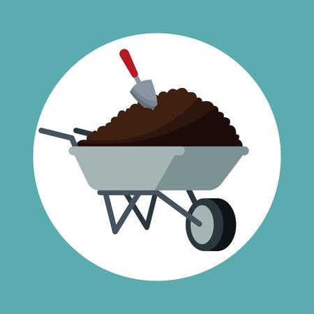 wheelbarrow with  shovel garden vector illustration Illustration