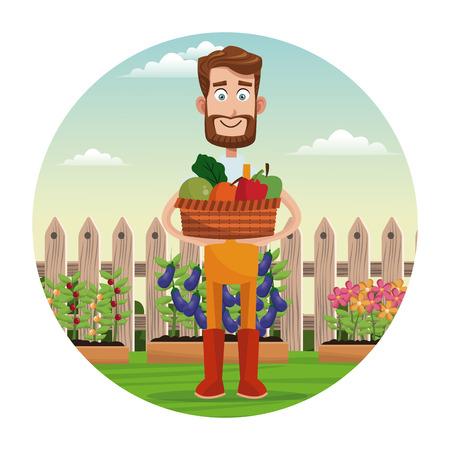 bearded farmer with vegetable basket garden fence vector illustration