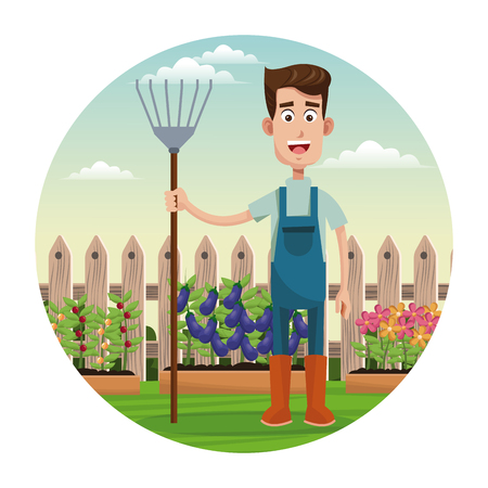 cute farmer coveralls and pitchfork garden fence vector illustration