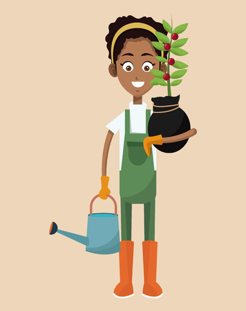 african woman farmer plant and water can vector illustration