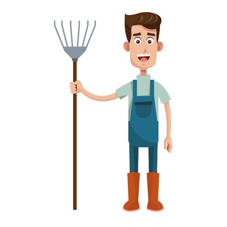 tute agricoltore carino e illustrazione vettoriale forcone