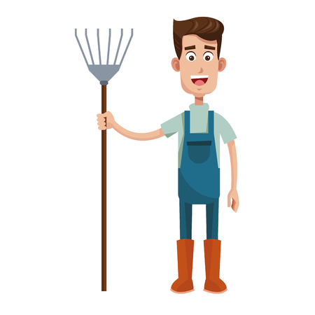 cute farmer coveralls and pitchfork vector illustration Illustration