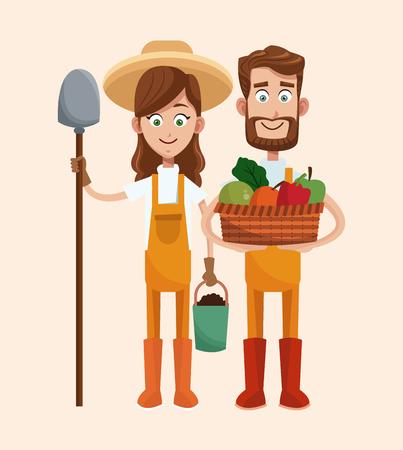 couple farmers vegetable basket shovel vector illustration