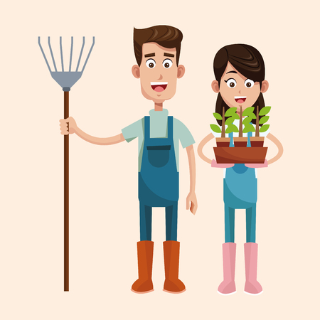 couple farmers with pitchfork and pot plant vector illustration Illustration