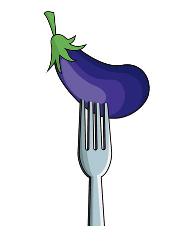 market place: eggplant fork fresh image vector illustration