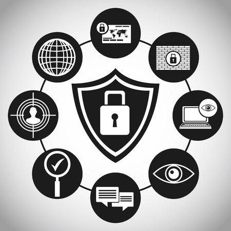 shiled: technology protection shiled padlock vector illustration eps 10