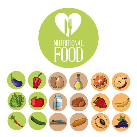 nutritional food ingredients product diet vector illustration eps 10 Illustration
