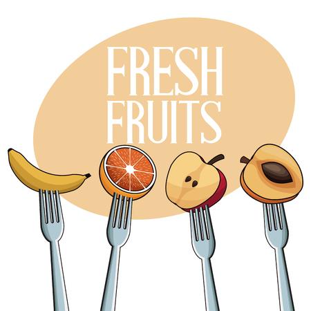 fresh fruits with fork image vector illustration eps 10