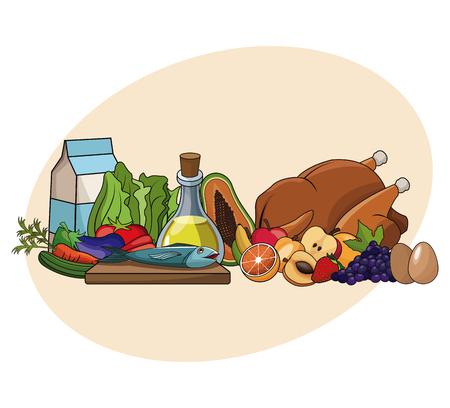 nutrition basic ingredients diet healthy vector illustration eps 10