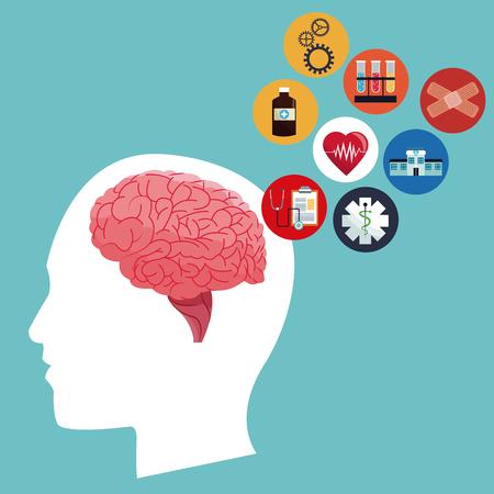 인간의 머리 두뇌 건강 관리 의료 아이콘 벡터 일러스트 레이 션 eps 10