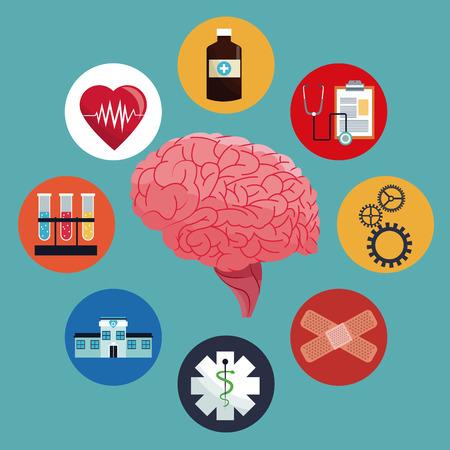 인간 두뇌 케어 의학 건강 벡터 그림 분기 EPS 10입니다. 일러스트
