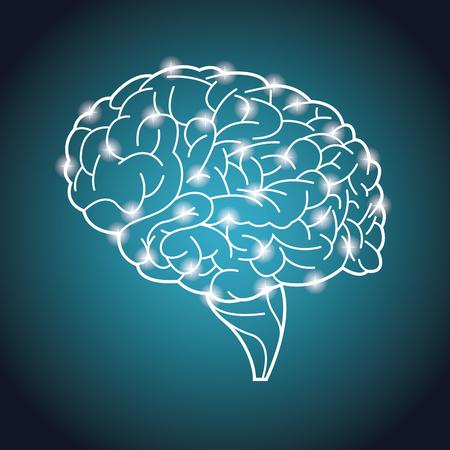 Human brain organ process neurons vector illustration eps 10.