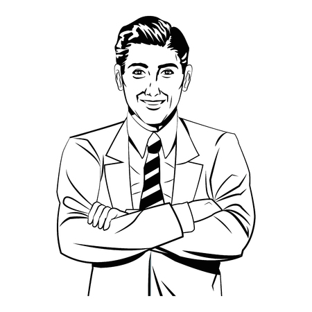 man crossed arms comic style black and white vector illustration