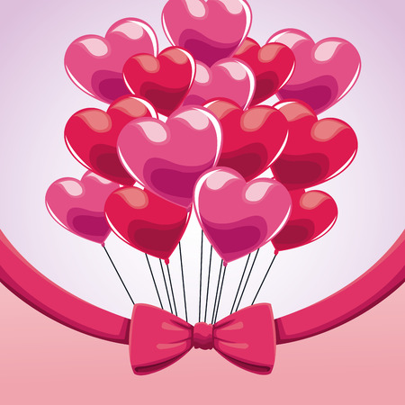 cute bunch pink balloons heart bow vector illustration eps 10