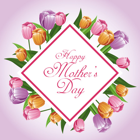 happy mothers day card tulips leaves decoration vector illustration eps 10