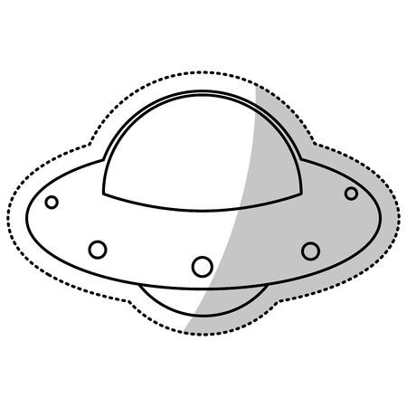 meteorite: UFO spaceship fly image outline vector illustration eps 10.