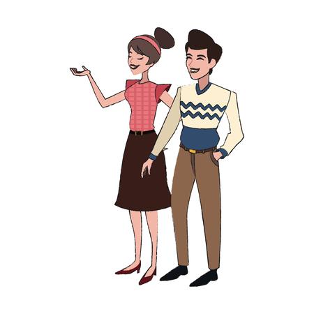 happy couple icon over white background. vector illustration Illustration